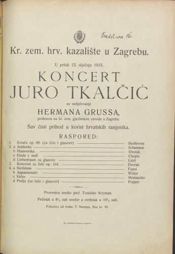Koncert Juro Tkalčić uz sudjelovanje Hermana Grussa