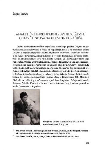 Analitički inventarni popis književne ostavštine Ivana Gorana Kovačića / Željko Trbušić