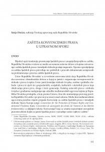 Zaštita konvencijskih prava u upravnom sporu : [rasprava]