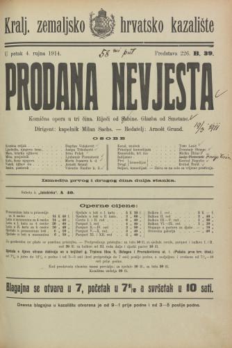 Prodana nevjesta : Komična opera u tri čina