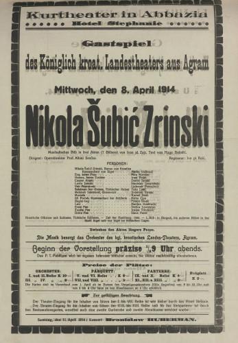 Nikola Šubić-Zrinski Musikalisches Bild in drei Akten (7 Bilderen)