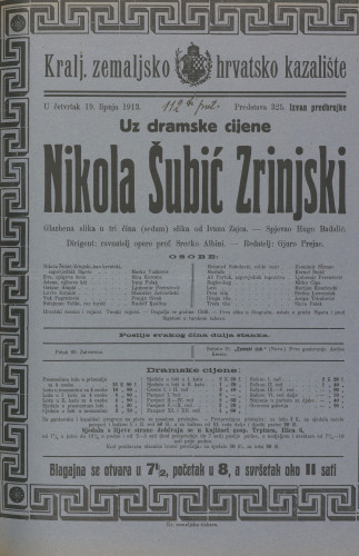 Nikola Šubić Zrinjski : Glazbena slika u tri čina (sedam) slika