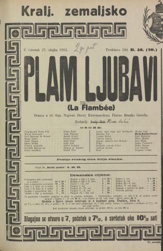 Plam ljubavi Drama u tri čina  =  La Flambée