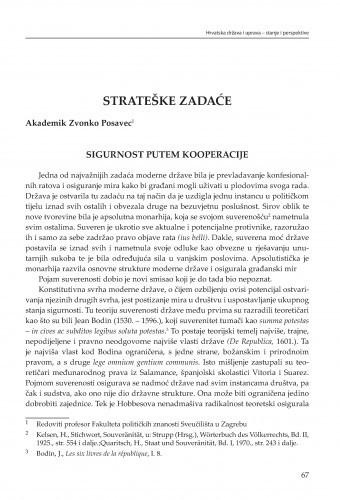 Sigurnost putem kooperacije : strateške zadaće / Zvonko Posavec