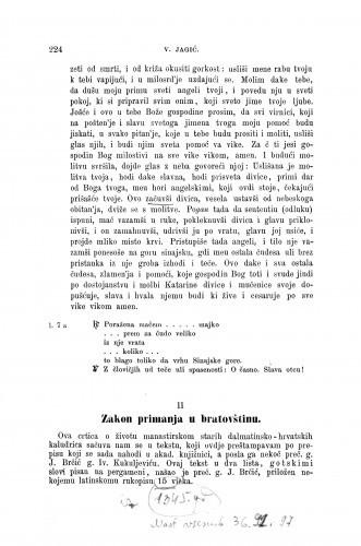 Zakon primanja u bratovštinu : ogledi stare hrvatske proze / Vatroslav Jagić