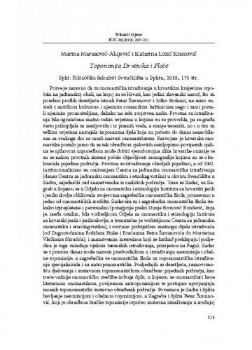 Marina Marasović-Alujević i Katarina Lozić Knezović: Toponimija Drvenika i Ploče : Split: Filozofski fakultet Sveučilišta u Splitu, 2018. ; [prikaz] / Domagoj Vidović