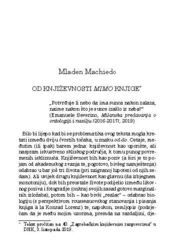 Od književnosti mimo knjige / Mladen Machiedo