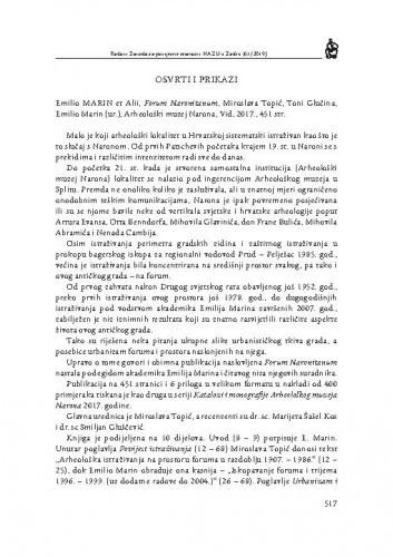 Emilio Marin et Alii, Forum Naronitanum, Miroslava Topić, Toni Glučina, Emilio Marin (ur.), Arheološki muzej Narona, Vid, 2017. : [prikaz] / Smiljan Gluščević