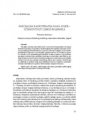 Parcijalna radioterapija raka dojke - učinkovitost i izbor bolesnika / Katarina Antunac
