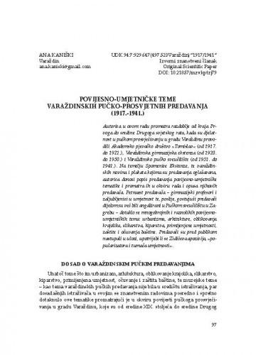 Povijesno-umjetničke teme Varaždinskih pučko-prosvjetnih predavanja (1917.-1941.) / Ana Kaniški