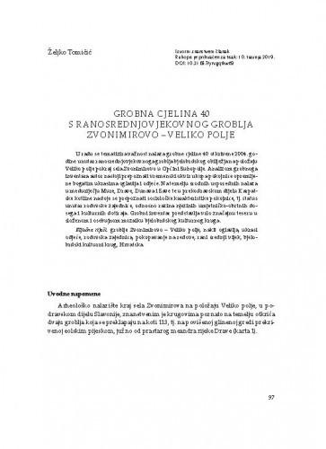 Grobna cjelina 40 s ranosrednjovjekovnog groblja Zvonimirovo – Veliko polje / Željko Tomičić