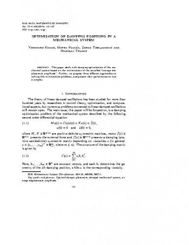 Optimization of damping positions in a mechanical system / Yoshihiro Kanno, Matea Puvača, Zoran Tomljanović, Ninoslav Truhar