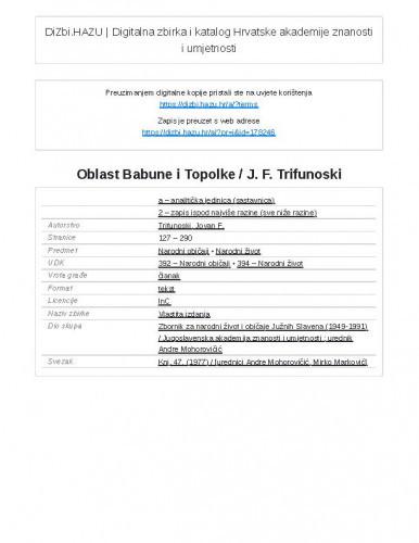 Oblast Babune i Topolke / J. F. Trifunoski