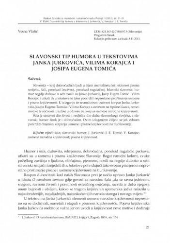 Slavonski tip humora u tekstovima Janka Jurkovića, Vilima Korajca i Josipa Eugena Tomića / Vesna Vlašić