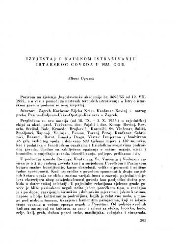 Izvještaj o naučnom istraživanju istarskog goveda u 1955. god. / A. Ogrizek