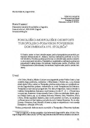 Fonološko-morfološke osobitosti turopoljsko-posavskih povijesnih dokumenata XVI. stoljeća / Boris Kuzmić