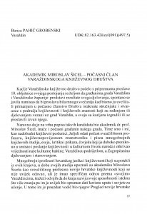 Akademik Miroslav Šicel - počasni član Varaždinskoga književnog društva / Barica Pahić Grobenski