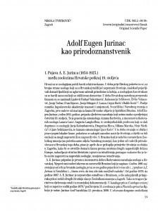 Adolf Eugen Jurinac kao prirodoznanstvenik / Nikola Tvrtković