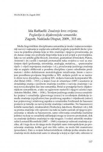 Ida Raffaelli: Značenje kroz vrijeme. Poglavlja iz dijakronijske semantike. Zagreb, Naklada Disput, 2009. : [prikaz] / August Kovačec