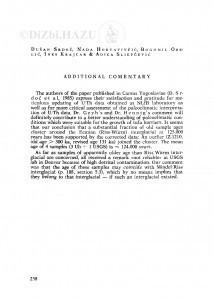 Additional commentary / D.Srdoč, N. Horvatinčić, B. Obelić, I. Krajcar Bronić, A. Sliepčević