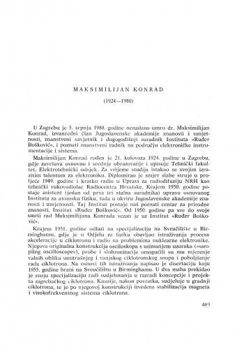 Maksimilijan Konrad (1924-1980) : [komemoracija i nekrolozi] / K. Ilakovac