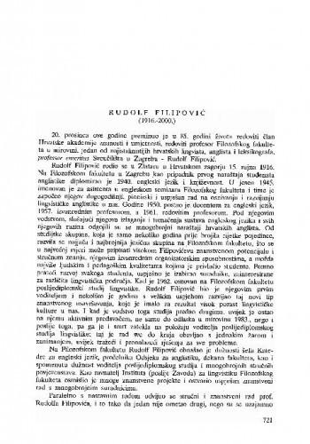 Rudolf Filipović (1916.-2000.) / Antica Menac