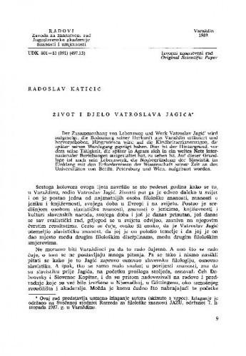 Život i djelo Vatroslava Jagića / Radoslav Katičić
