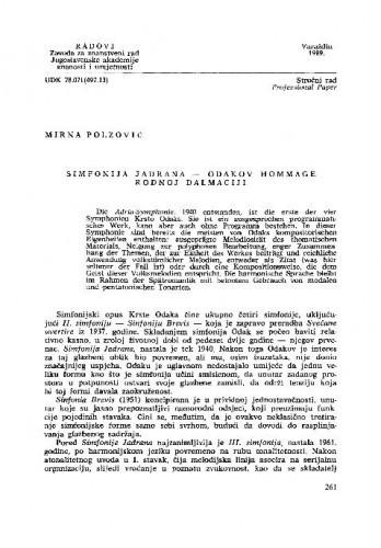 Simfonija Jadrana - Odakov hommage rodnoj Dalmaciji / Mirna Polzović