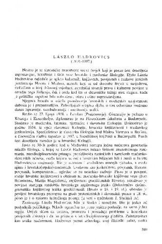 László Hadrovics : (1910.-1997.) / Petar Šimunović