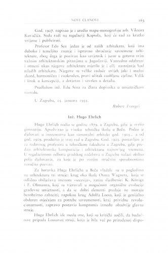 Inž. Hugo Ehrlich / R. Frangeš Mihanović