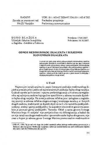 Odnos međimurskog dijalekta i susjednih slovenskih dijalekata / Đuro Blažeka