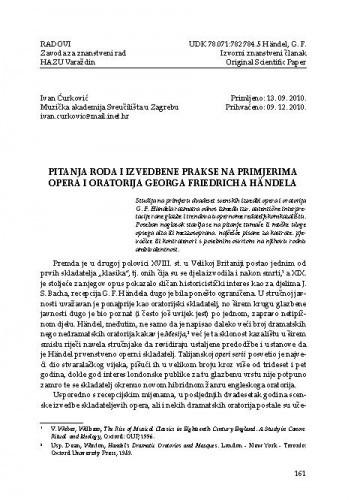 Pitanja roda i izvedbene prakse na primjerima opera i oratorija Georga Friedricha Händela / Ivan Ćurković