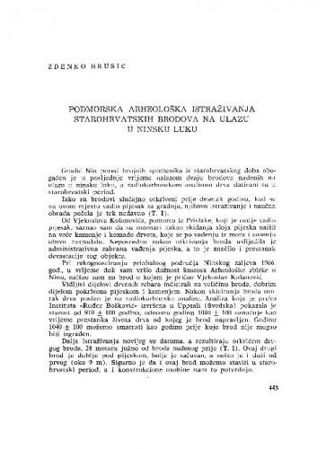 Podmorska arheološka istraživanja starohrvatskih brodova na ulazu u ninsku luku / Zdenko Brusić