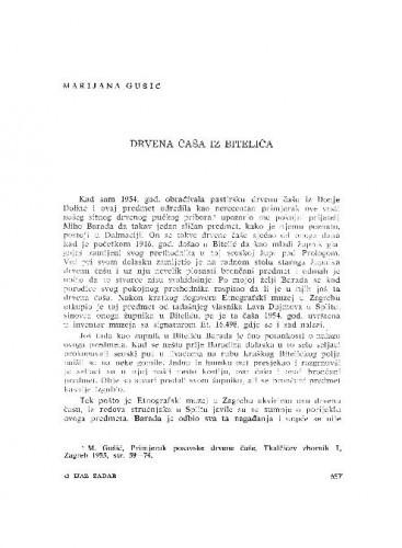 Drevna čaša iz Bitelića / Marijana Gušić