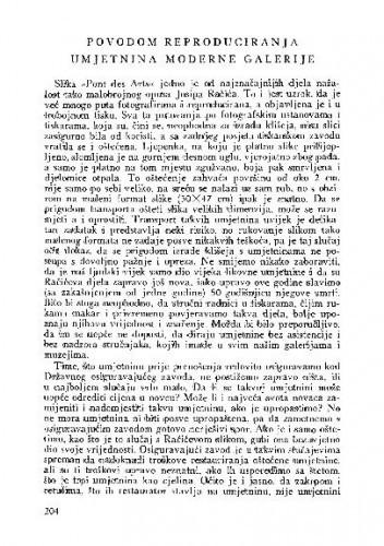 Povodom reproduciranja umjetnina Moderne galerije (Pont. des arts) / Z. Wyroubal