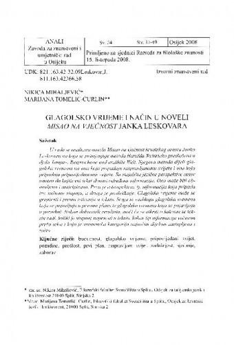 Glagolsko vrijeme i način u noveli Misao na vječnost Janka Leskovara / Nikica Mihaljević, Marijana Tomelić-Ćurlin