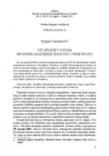 Sto pedeset godina Hrvatske akademije znanosti i umjetnosti / Stjepan Damjanović