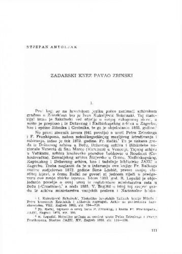Zadarski knez Pavao Zrinski / Stjepan Antoljak