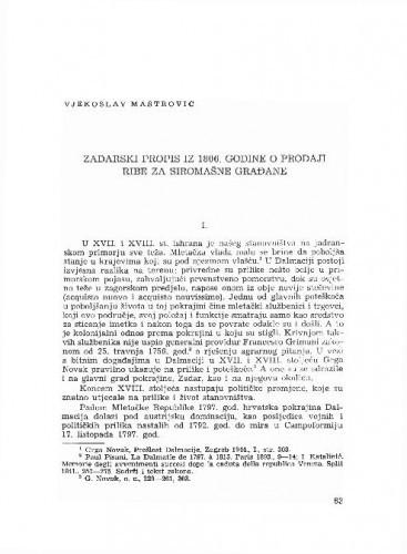 Zadarski propis iz 1806. godine o prodaji ribe za siromašne građane / Vjekoslav Maštrović