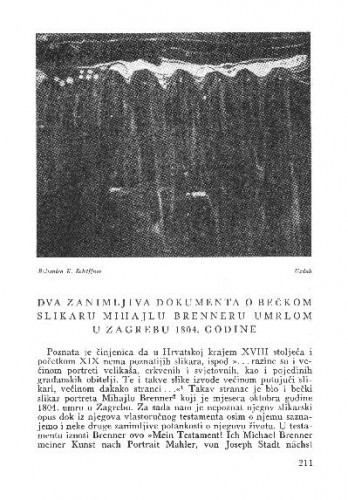 Dva zanimljiva dokumenta o bečkom slikaru Mihajlu Brenneru umrlom u Zagrebu 1804. godine / Miroslava Despot