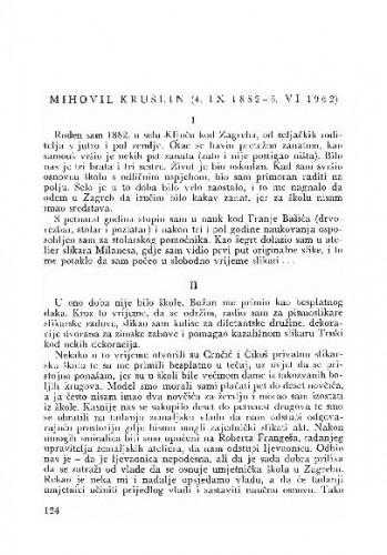 Mihovil Krušlin (4. IX 1882 - 5. VI 1962) / priredio za tisak M. Peić