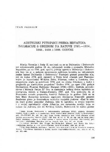 Austrijski putopisci prema Hrvatima Dalmacije s obzirom na ratove 1797.-1814., 1848., 1859. i 1866. godine / Ivan Pederin