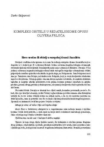 Kompleks obitelji u redateljskome opusu Olivera Frljića / Darko Gašparović