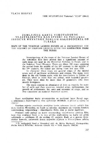 Zemljišne karte vukovarskog vlastelinstva kao izvori za povijest istočne Hrvatske poslije oslobođenja od Turaka / Vlado Horvat