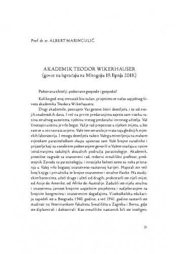 Akademik Teodor Wikerhauser : (govor na ispraćaju na Mirogoju 19. lipnja 2018.) / Albert Marinculić