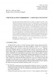The war against terrorism - a new bellum iustum? / Davorin Lapaš