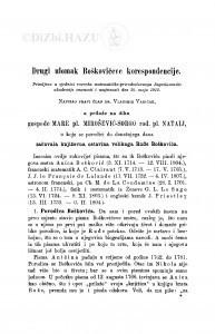 Drugi ulomak Boškovićeve korespondencije / V. Varićak