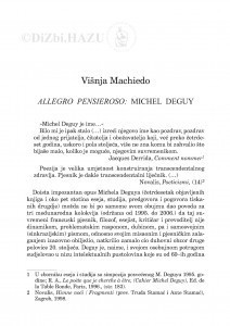 Allegro pensieroso: Michel Deguy / Višnja Machiedo