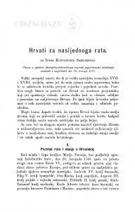 Hrvati za nasljednoga rata / I. Kukuljević Sakcinski