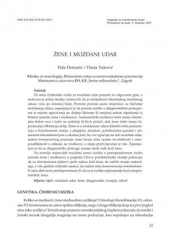 Žene i moždani udar / Vida Demarin, Vlasta Vuković